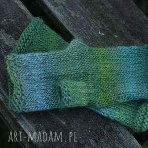 handmade rękawiczki mitenki ombre zielone