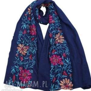 haftowany folkowy szal w kwiaty - szal, haftowany, kwiaty, etno, apaszka, mama