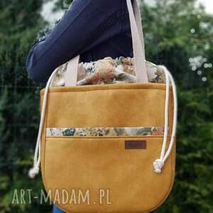 duża torba w kolorze miodu z kominem bukiety bzu, torba, shoperka