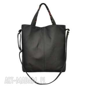na ramię 16-0001 czarna duża torebka damska z paskiem jay, markowe