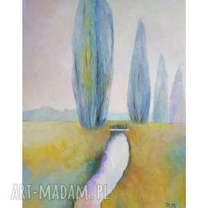 obraz olejny pastelowy pejzaż format 50/40 cm, pejzaż, pastel, strumyk
