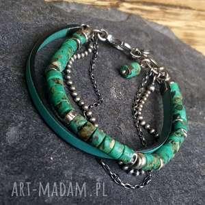 ręcznie wykonane bransoletka srebrna z turkusem afrykańskim i rzemieniem