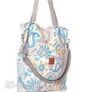duża torba w pastelowe wzory, pastelowa, duża, jasna, prostokątna, wzory