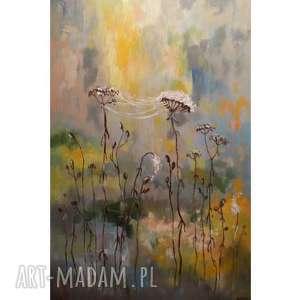 SŁONECZNA ŁĄKA Z PAJĘCZYNĄ -obraz akrylowy formatu 40/60 cm, łąka, pajęczyna, slonce