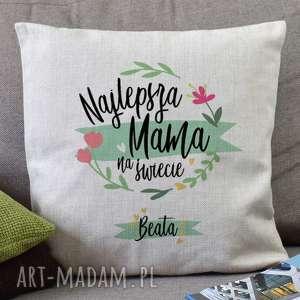 najlepsza mama na świecie - lniana poduszka dekoracyjna z personalizowanym nadrukiem