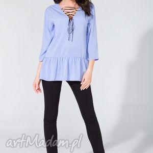 bluzka koszulowa ze wstążką t134 lawenda - bluzka, koszulowa, szyfon