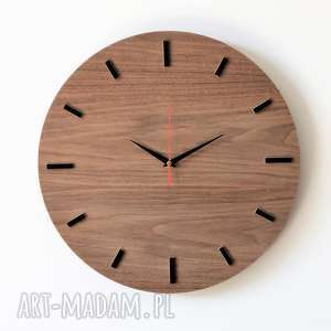 40 cm, zegar ścienny orzech, nowoczesny zegar - zegar, naturalne drewno