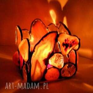 świeczniki świecznik agat kwadrat brązowy, witrażowy