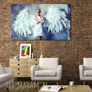 obraz anioł 1 -70x40cm design na płótnie, obraz, anioł, granat