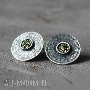 srebrne kolczyki wkrętki z pirytem azteckie słońce