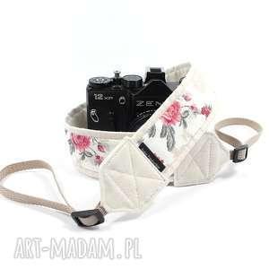 Prezent Pasek do aparatu camera strap ecru z różami, pasekdoaparatu, camerastrap