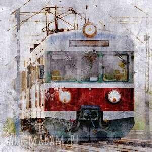 obraz xxl pociąg 1 - 60x60cm na płótnie tramwaj