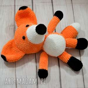 Szydełkowy duży Lisek Rysiek, lis, rudy, lisek, przytulanka, maskotka, pomarańczowy