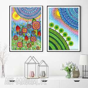 Zestaw 2 prac A3, plakat, obraz, kwiaty, łąka, kwiatki, grafika
