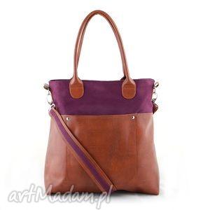 fiella - duża torba bordowa , shopper, wygodna, praktyczna, elegancka, alkantara