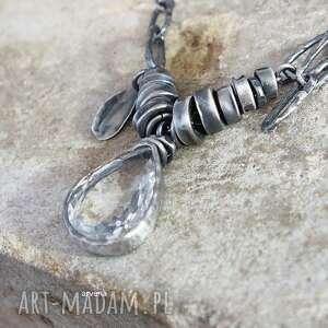Kryształ górski - naszyjnik naszyjniki arvena srebro oksydowane,