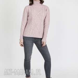 golf z wzorami, swe121 pastelowy róż mkm, dzianinowy, sweter, jesienny
