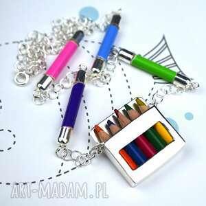 artystyczny naszyjnik kredki srebro kolorowy naszyjnik, prezent dla nauczycielki