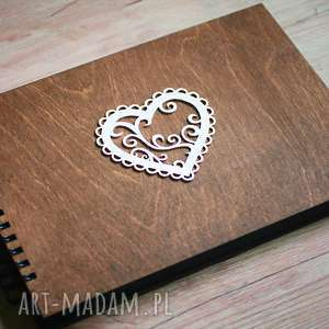 album na zdjęcia do samodzielnego wyklejania, drewno, serce, album, księga, gości