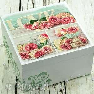 Prezent szkatułka- LOVE, serce, pudełko, na, biżuterię, miętowe, prezent