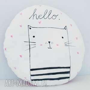 handmade pokoik dziecka okrągła podusia dekoracyjna z kotkiem