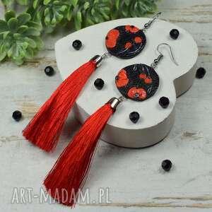 długie eleganckie kolczyki frędzle czerwone maki
