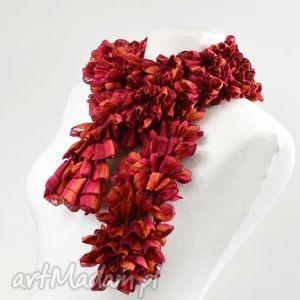 fantazyjny szal - malinowo-czerwony - szalik, dodatek, nowoczesny, designerski, modny