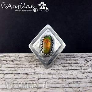 sokszi - ammolit, srebro, pierścionek, pierścionek biżuteria