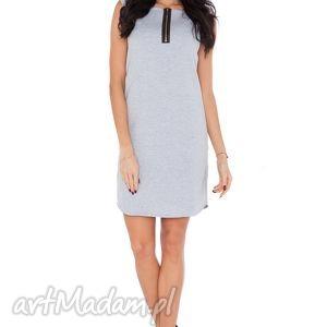 Sukienka R_2 jasnoszary, sukienka, prosta, wygodna, dresówka, zamek