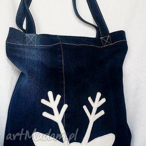 Eko Torba z Reniferem, torba, eko-torba, jeans, recykling, renifer, bawełniana