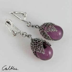 fioletowe w siateczce - klipsy duże, klipsy, kolczyki, wiszące, długie