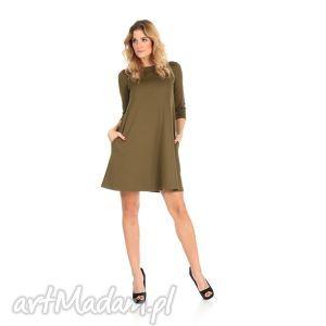 sukienki 2-sukienka rozkloszowana oliwka,krótka, lalu, sukienka, dzianina