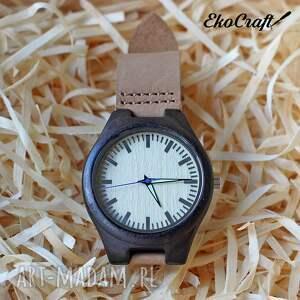 Prezent Drewniany zegarek z hebanu, na naturalnym skórzanym pasku, heban, drewniany