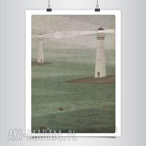 grafika latarnie b2, morze, księżyc, grafika, latarnia, stonowany, unikalny