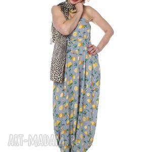 ręczne wykonanie ubrania wyjątkowy kombinezon, maxi spódnica, cytryny