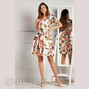 sukienka polina mini rosario, mini, w kwiaty, na lato, rozkloszowana