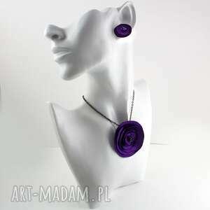 komplety fioletowy komplet z tkaniny, komplet, wisiorek, pierścionek, materiałowy