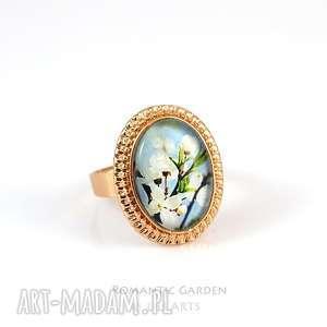 pierścionek - błękitne niebo kolor złoty