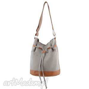 na ramię yocca - torba worek jasnoszara i beż, worek, swobodna, wygodna, praktyczna