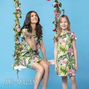 sukienki komplet prostych sukienek na lato w ciekawe wzory, model 34, flamingi
