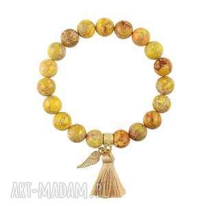 bransoletka z jaspisów cesarskich - boho - skrzydło, chwost
