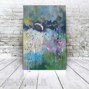 JESIENNA ŁĄKA -obraz akrylowy formatu 40/60 cm, łąka, abstrakcja, trawy, obraz,