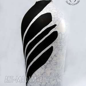 święta prezent, wazon raku biało-czarny, ceramika, wazon, kwiaty, raku, wazonik
