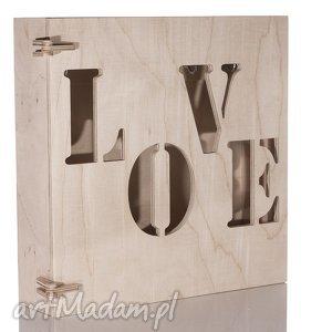 Szafka na klucze drewniana LOVE naturalna, szafka, skrzynka, drewno, sklejka