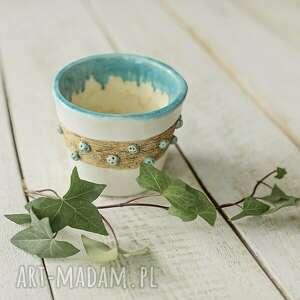 Doniczka biała z turkusem osłonka ceramiczna ceramika artlantyda