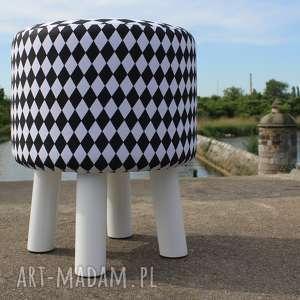 handmade pufy pufa mały arlekin - białe nogi - 36 cm