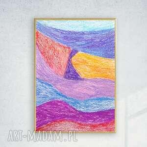oprawiony rysunek, kolorowa abstrakcja na ścianę, nowoczesna dekoracja do pokoju