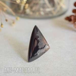 sirius92 geometryczny pierścionek z drewna i żywicy, regulowany