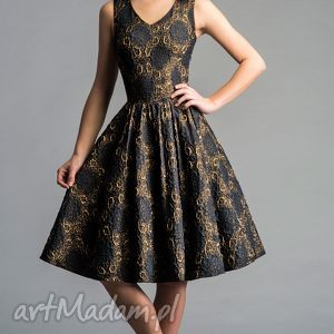 Sukienka GINA (Marszczona) Midi Dolores (ciemny granat), midi, rozkloszowana