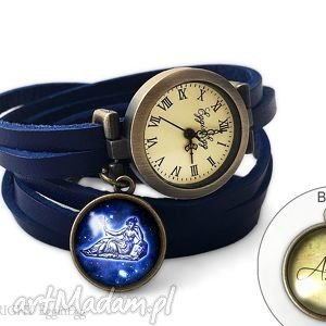 zegarek z dwustronną zawieszką znak zodiaku i inicjały - dwustronna
